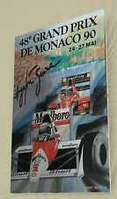 "Ayrton Senna Monaco 1990 Clip Glass Framed Canvas Print Signed ""Great Gift"""