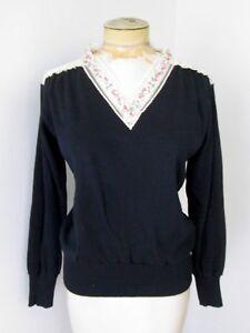 MINTY Vtg 60s Black V-Neck Sweater Romantic Sheer Lace Pink Flower Ribbon Trim M