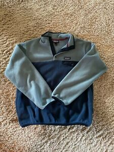 large blue/gray patagonia womens synchilla snap t fleece pullover