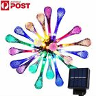 4.5M 30 LED Solar Powered Raindrop Garden String Fairy Icicle Lights Party Xmas