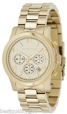 NEW MICHAEL KORS RUNWAY GOLD TONE+CHRONOGRAPH DIAL+DATE MIDSIZED WATCH MK5055