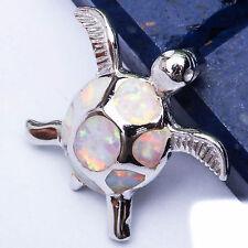 """White Australian Opal Turtle .925 Sterling Silver Pendant .5"""""""