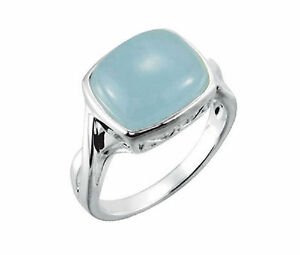 AQUAMARINE RING SET IN STERLING SILVER  12.0 X 10.0MM