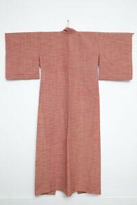 Authentic Traditional vintage orange Japanese yukata hitoe kimono