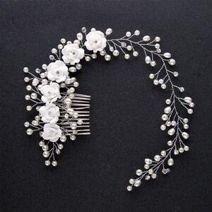 Wedding Bridal Pearl Flower Band Headband Women Party Crystal Hair Accessories