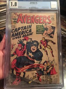 Avengers #4 CGC 1.8 OW/W *1st Silver Age Captain America* Stan Lee & Jack Kirby!