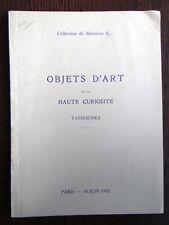 Catalogue de vente Haute Epoque Curiosites  Faience Bois sculpté 1932