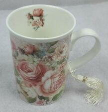 Roses 9 oz Mug Coffee / Tea Cup with Tassel and Decorative Gift Box