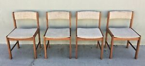 D-Scan | Mid Century Teak Upholstered Dining Chairs | Set of 4 | #10624
