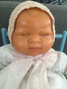 RARE! Antique Wax Bye Lo Doll Org. Dress Grace S. Putnam