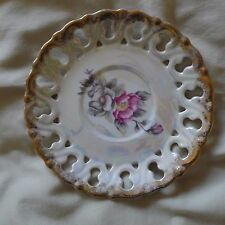"Decorative Collectable Victorian Flowers on Iridescent Gold Trim 6"" Plate"