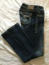 (*-*) SILVER JEANS * Womens SUKI SURPLUS Blue Jeans * Size 28 * FLAP POCKETS
