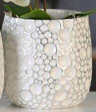 Schöner Übertopf Gaps weiß silber, Keramik Höhe 17 cm Blumentopf Pflanztopf