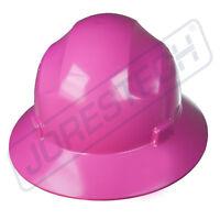 PINK HARD HAT FULL BRIM JORESTECH 4 POINT RATCHET SUSPENSION CONSTRUCTION ANSI