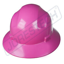 PINK HARD HAT FULL BRIM JORESTECH 4 POINT RATCHET SUSPENSION CONSTRUCTION ANSI