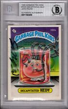 """JOHN POUND Signed 1986 Garbage Pail Kids Card """"DECAPITATED HEDY"""" BECKETT SLABBED"""
