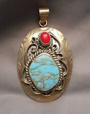 Vintage Mexican Pendant - Oval Sterling Scrollwork Turquoise & Coral signed SS