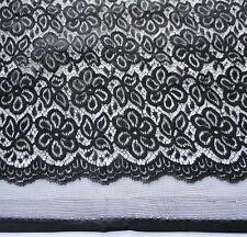 Negro Tela Encaje pesado poli nailon con / Bordado silueta sobre floreados 104cm