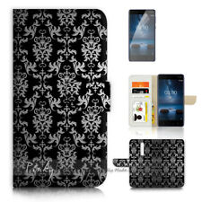 ( For Nokia 8 ) Wallet Flip Case Cover P21399 Damask Pattern
