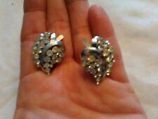 Crown Trifari Rodium Plated Sparkling Rhinestone Earrings