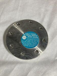 """NOS Varian Conflat Flange 4 1/2"""" diameter 3/4"""" thick.Orig Pkg Label Shrink Wrap"""