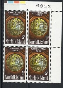 NORFK ISLAND STAMPS 1969 CHRISTMAS  SG 102 CORNER BLOCK OF 4 MINT NEVER HINGED