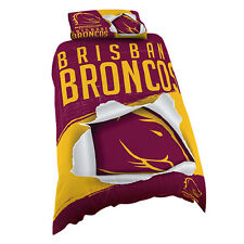 Brisbane Broncos NRL SINGLE Bed Quilt Doona Duvet Cover Set *NEW 2018* GIFT