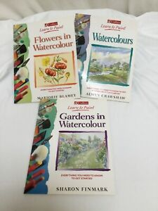 3 x Collins Learn To Paint Watercolours Flowers Gardens Paperback Exc Con