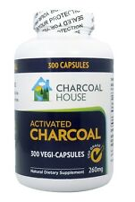 300 caps Vegan Activated Charcoal capsules 260mg Non GMO Coconut Shell No filler
