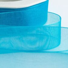 15mm Organza Ribbon Turquoise Woven Edge - 20mtr FULL REEL