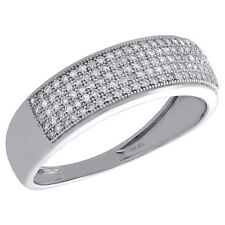 10K White Gold Round Diamond Mens Wedding Band Pave Set Engagement Ring 0.33 Ct.
