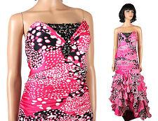 Strapless Prom Dress 8 M Alyce Designs Pink White Black Polka Dot Mermaid Gown