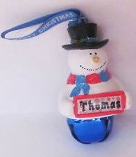 25409 THOMAS NAME FROSTY SNOWMAN COLOUR BELL CHRISTMAS TREE DECORATION GIFT