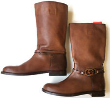 GUCCI Mens Sukey Leather Monogram Pull Up Riding Boots, UK 8 (8.5 US) $900 *