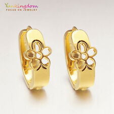 Elegant Gold Color Gold Plated Lady Girl Ear Jewelry Hollow Flower Hoop Earrings