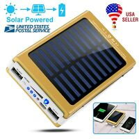 20000mAh Solar Power Bank Emergency Battery Dual USB LED Lights Outdoor Charger