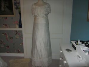 Vintage wedding dress in pales ivory shantung and embroidered lace 12