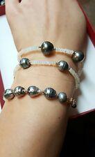 Ethiopian Fire Opal Tahitian pearl solid 14k gold wrap bracelet necklace