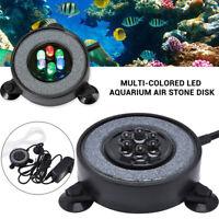 Aquarium Air Stone Disk Round Fish Tank Bubbler With Auto Color Change LED Light