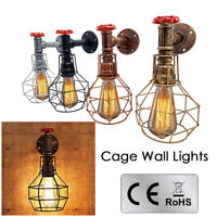 Vintage Industrial Retro Rustic Steampunk Sconce Water pipe Cage Wall Light