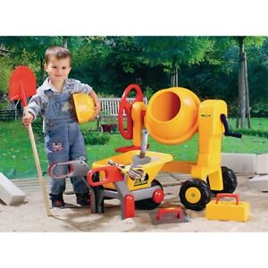 Childrens Construction Toy Cement mixer, wheelbarrow & bucket set Fast Delivery