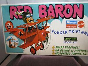 Vintage 1971 Red Baron Fokker Triplane Model Kit Monogram Mattel