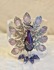 New ROBERTO CAVALLI Lucite Purple PEACOCK CUFF BRACELET, Enamel & Crystals, $699