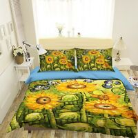 3D Sunflower Field 3 Bed Pillowcases Quilt Duvet Cover Set Single Queen King
