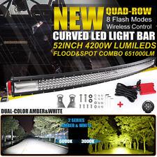 10D Quad-Row 4200W 52Inch CURVED LED Light Bar Flood Spot Car Driving VS 50'' 54