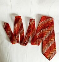 CANALI Tie 100% Silk Beige /Red/Gold Color L59 W3.8