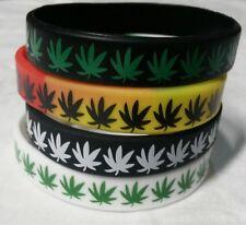 4pcs Silicone Wristbands Leaf Marijuana Cannabis  Weed Rubber Bracelet BULK