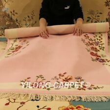 YILONG 4'x6' Pink Hand Woven Wool Carpet Chinese Art Deco Warm handmade Area Rug