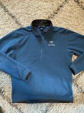 Arc'teryx Men's Blue Delta AR 1/4 Zip Mid Layer Pullover Fleece - Large
