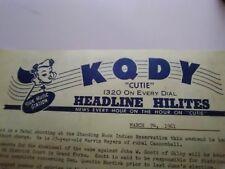 "1961 Broadcast Script Highlights Radio Station KQDY ""CUTIE"" News Local World Ads"